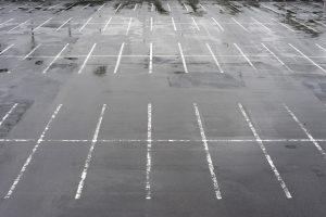 a rain covered car park