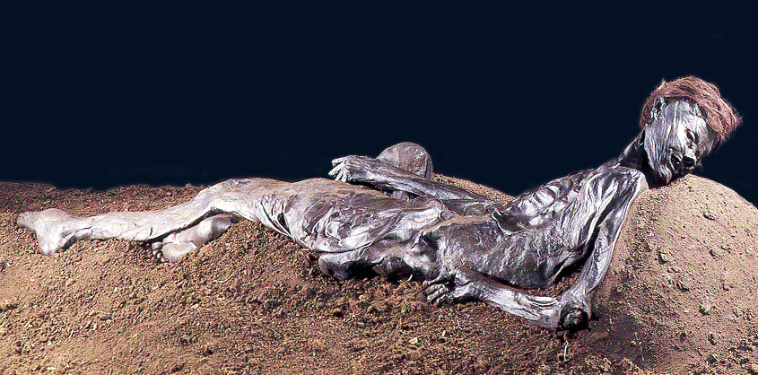 The preserved skeleton of a human figure