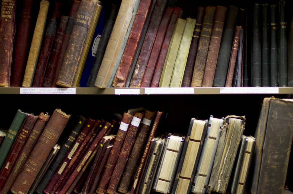 Old books on two shelves