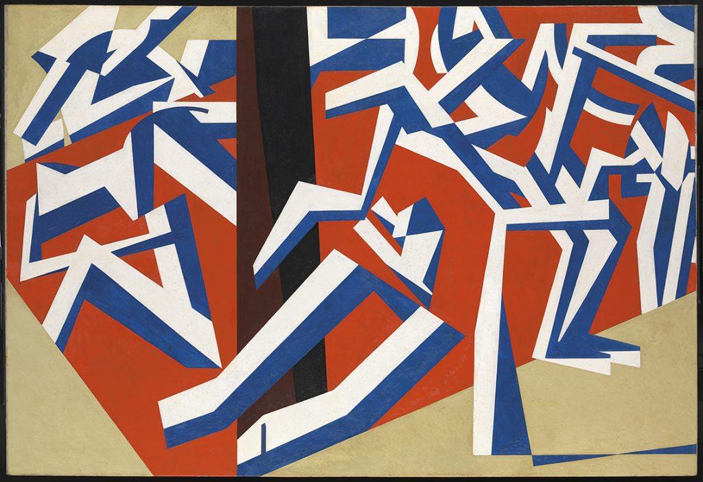 An abstract, angular painting