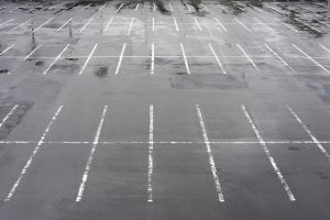 a rain covered car park